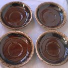 VINTAGE HULL MIRROR BROWN SAUCERS ~SET OF 4~BROWN WITH WHITE DRIP