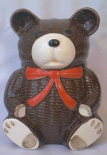 OTAGIRI TEDDY BEAR BANK ~1979~DARK BROWN~RED BOW~EXCELLENT CONDITION