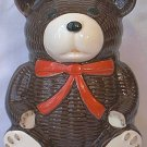 OTAGIRI TEDDY BEAR BANK ~1979~DARK BROWN~RED BOW~EXCELLENT CONDITION