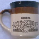 HARDEES RISE AND SHINE ADVERTISING COFFEE MUG ~1989~EXCELLENT CONDITION