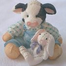 ENESCO MARY'S MOO MOO FIGURINE 1994 ~SOME BUNNY LOVES MOO~COW WITH BUNNY