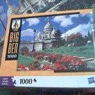M BRADLEY BIG BEN JIGSAW PUZZLE ~PARIS FRANCE~1000 COMPLETE~FLOWERS~SACRE COEUR
