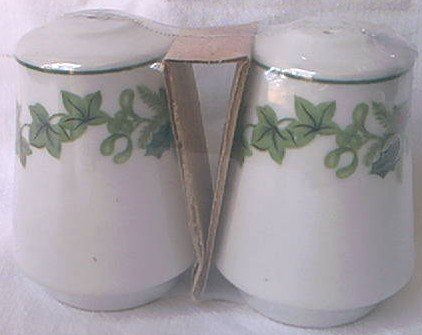 HOLLY AND IVY SALT AND PEPPER SHAKERS SET ~NEW IN ORIG PKG