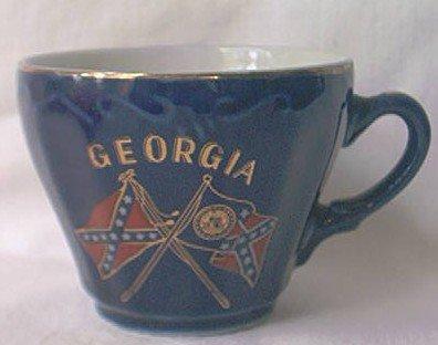 VINTAGE SOUVENIR CUP GEORGIA Confederate Flag Georgia Flag Blue