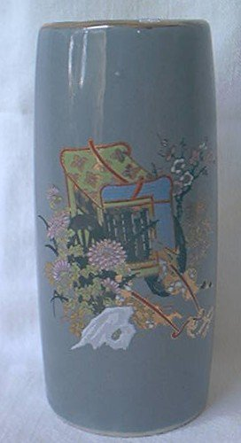 SMALL 4 INCH GOLD TRIMMED ORIENTAL VASE ~GRAY WITH GOLD