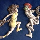 SEXTON METAL PLAQUE SET ~BOY AND GIRL TENNIS PLAYERS~BATTLE OF THE SEXES~1975