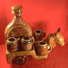 VINTAGE BULL CART POTTERY TEQUILA 8 piece SET ~CART/6 SHOTS/BOTTLE-GREAT 4 BAR~COWBOY~WESTERN