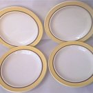 4 SALAD LUNCHEON PLATES ~WHITE WITH YELLOW EDGE/BROWN RING~7.25 IN