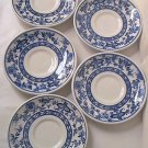 STERLING VITRIFIED CHINA BLUE ONION FLOW BLUE SAUCERS ~SET OF 5~BLUE AND WHITE~1965-66~RESTAURANT