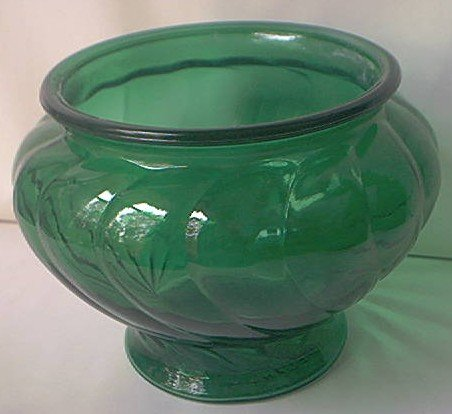 Vintage Napco Forest Green Swirl Glass Vase 1192c1950s