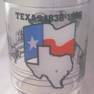 TEXAS 1836-1986 COMMEMORATIVE GLASS ~LONE STAR FLAG, OIL WELLS,ALAMO,COWBOY, GUN,CATTLE