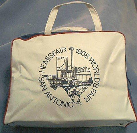 1968 HEMISFAIR SAN ANTONIO TEXAS WORLDS FAIR VINYL ZIPPERED OVERNIGHT BAG