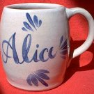 PERSONALIZED NAME STONEWARE MUG ~ALICE ~COBALT BLUE OVER TAUPE~HAND PAINTED