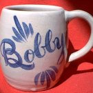 PERSONALIZED NAME STONEWARE MUG ~BOBBY ~COBALT BLUE OVER TAUPE~HAND PAINTED