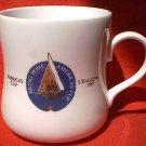 TASTERS CHOICE COFFEE AMERICAS CUP CHALLENGE 1987 ADVERTISING MUG ~SAILING~GOLD TRIM