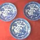 3 VINTAGE BLUE WILLOW SAUCERS ~JAPAN~FINE QUALITY