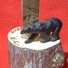 VINTAGE SOUVENIR MAGGIE VALLEY N CAROLINA WOOD THERMOMETER ~BLACK BEAR~WORKS