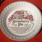 ROYAL CHINA BY JEANNETTE STRAWBERRY PIE RECIPE BAKING DEEP DISH PIE PLATE~ c.1980's