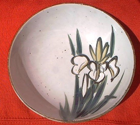 STONEWARE IRISES CANDY NUTS POT POURRI BOWL DISH ~JAPAN?