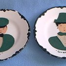 GRANDMA AND PAPA VINTAGE FELT DECORATED PLATES ~SET OF 2~CLEVER