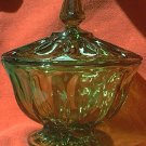 VINTAGE AVOCADO GREEN GLASS COVERED CANDY DISH ~EXCELLENT CONDITION~7 in