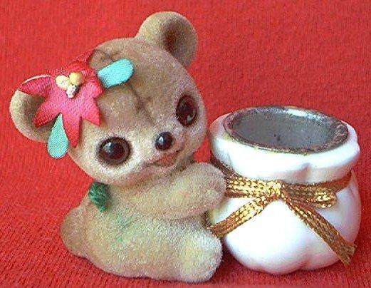 JOSEF ORIGINAL FUZZY FLOCKED TEDDY BEAR CANDLE OR TOOTHPICK HOLDER ~CUTE!