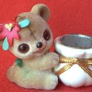 JOSEF ORIGINAL FUZZY FLOCKED TEDDY BEAR CANDLE OR TOOTHPICK HOLDER ~CUTE!