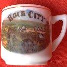 ROCK CITY SOUVENIR SMALL CUP MUG ~COLORFUL TRANSFER~GOLD TRIM~2 IN