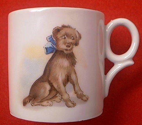 ANTIQUE VICTORIAN CHILD'S CUP ~GERMANY~DOG~PORCELAIN