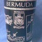 BERMUDA SOUVENIR PICTORAL GLASS ~c 1960'S~BLACK, WHITE, GOLD~MEN IN STOCKS