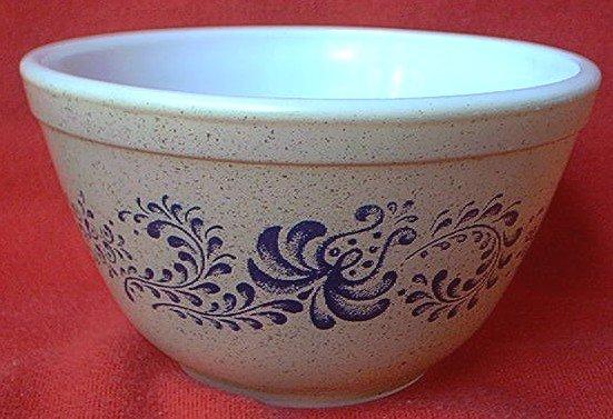 Vintage Pyrex Glass Mixing Bowl Oatmeal Blue Looks Like