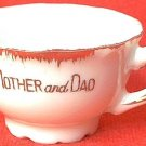 VICTORIAN LOOKING CHILD'S MINI CUP MOTHER AND DAD~GOLD TRIM