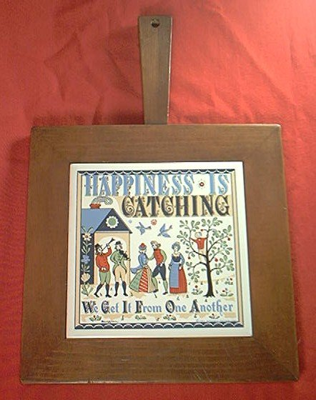 BERGGREN TILE WOODEN CHEESE BOARD ~HAPPINESS IS CATCHING ~1963