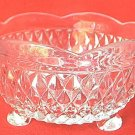 VINTAGE INDIANA GLASS 3 TOED FOOTED DIAMOND POINT BOWL