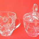 VINTAGE ANCHOR HOCKING GLASS EARLY AMERICAN PRESCUT CREAMER AND COVERED SUGAR BOWL SET