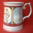 ELIZABETHAN SPORTSMANS TANKARD MUG ~STAFFORDSHIRE~ENG~GOLF~CRICKET~SOCCER~FISHING