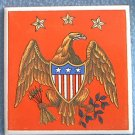 PATRIOTIC AMERICAN EAGLE FLAG SHIELD TILE ~4.2 in sq~JAPAN
