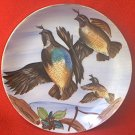 QUAIL PLATE ~JAPAN~HAND PAINTED ~BIRDS IN FLIGHT ~7 IN~GOLD TRIM~ENCO NYC