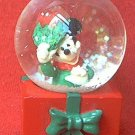 DISNEY MICKEY MOUSE CHRISTMAS SMALL GLASS SNOWGLOBE SNOWDOME ~JC PENNEY~3 IN~MINT