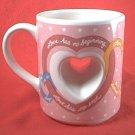 PAPEL LOVE IS HEART THRU CENTER VALENTINE MUG ~ODD SHAPE