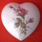 VINTAGE MOSS ROSE HEART-SHAPED TRINKET BOX ~GOLD TRIM~JAPAN