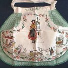 ALGARVE PORTUGAL SOUVENIR APRON ~GREEN GINGHAM~NEVER USED~NATIVE COSTUME