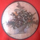 VINTAGE CONVEX GLASS DRIED FLOWER BASKET PICTURE
