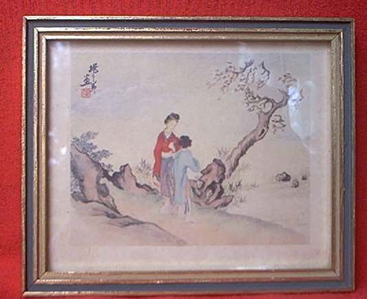 VINTAGE FRAMED ORIENTAL JAPANESE PRINT ~5 x 6 inches