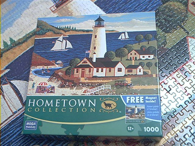 MEGA HOMETOWN COLLECTION JIGSAW PUZZLE~HERONIM WYSOCKI~OUTING AT THE LIGHT~COMPLETE~LIGHTHOUSE