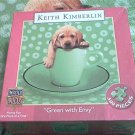 MASTER PIECES 500 PC JIGSAW PUZZLE~KEITH KIMBERLIN~GREEN WITH ENVY~PUPPY DOG IN CUP~COMPLETE