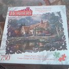 BORDERS 750 PC JIGSAW PUZZLE~CARL VALENTE~TWILIGHT AT WOODGREEN POND~COMPLETE~COTTAGE