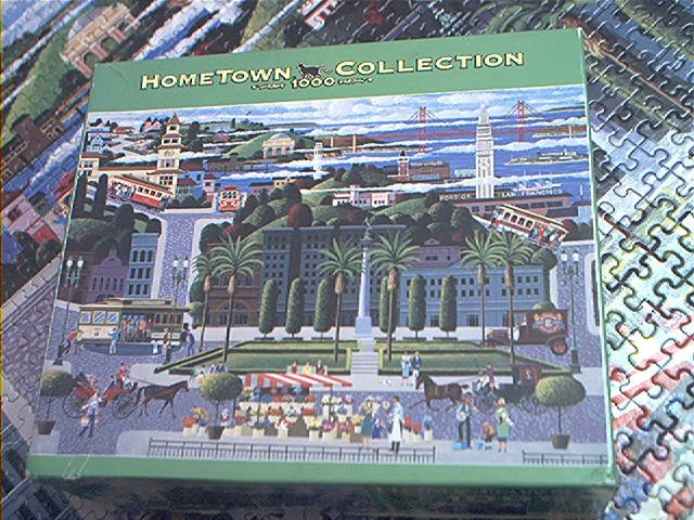 HOMETOWN  COLLECTION JIGSAW PUZZLE ~HERONIM WYSOCKI~CABLE CARS~COMPLETE~SAN FRANCISCO CA