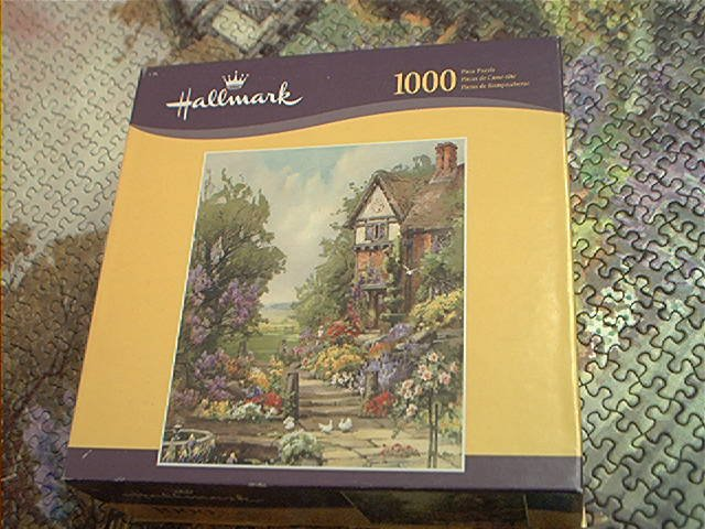HALLMARK 1000 PC JIGSAW PUZZLE ~PEACEFUL PLACE~COTTAGE-GARDEN~COMPLETE