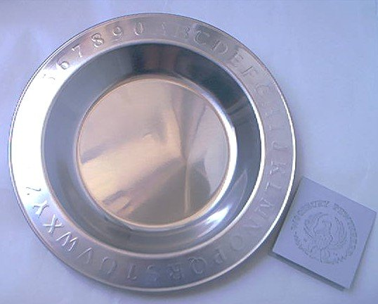 WOODBURY PEWTERERS CHILDREN'S ABC 123 BOWL DISH ~PEWTER~NEW-UNUSED~GREAT GIFT~7 IN